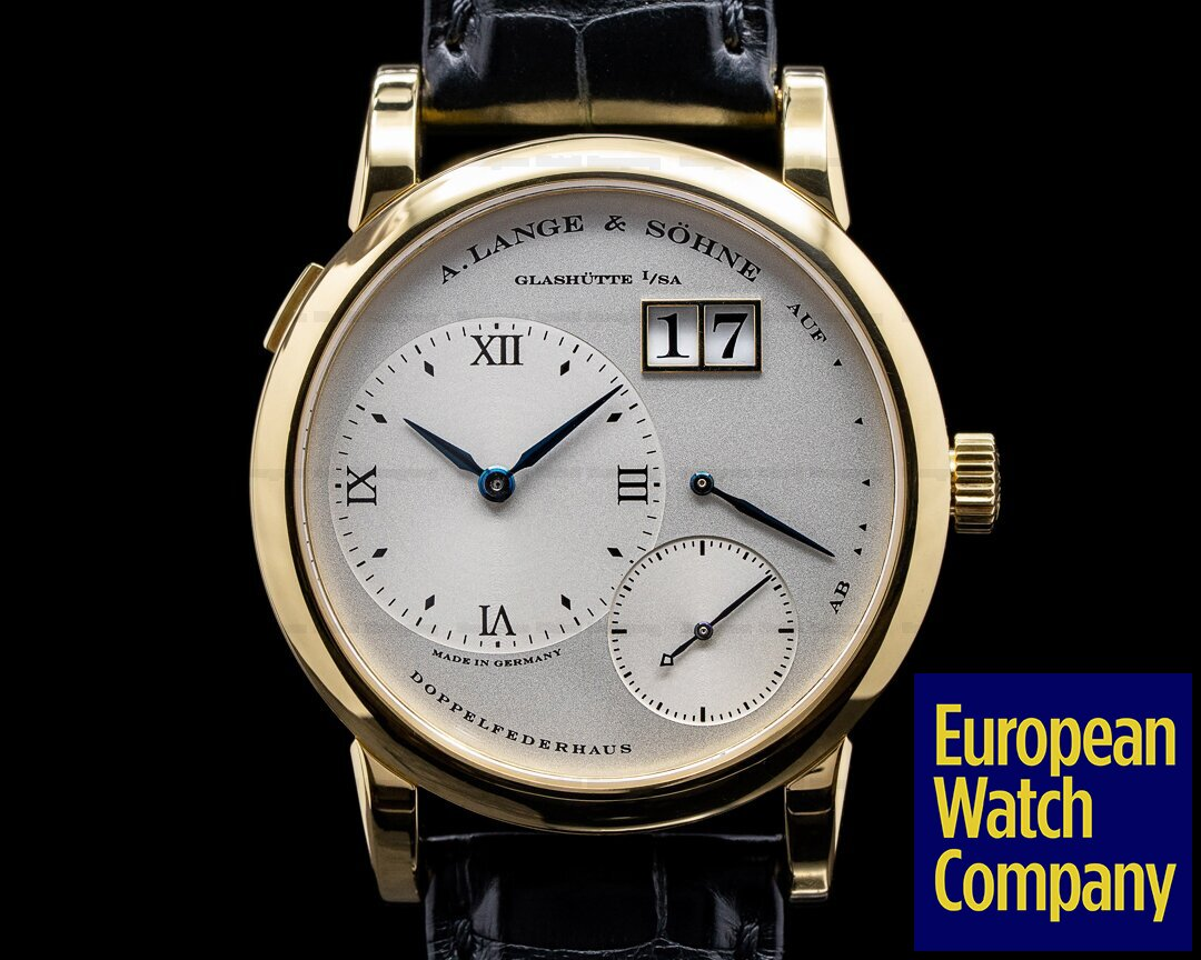 A. Lange and Sohne 101.022 Lange 1 101.022 18K Yellow Gold Blue Hands Silver Dial + Deployant