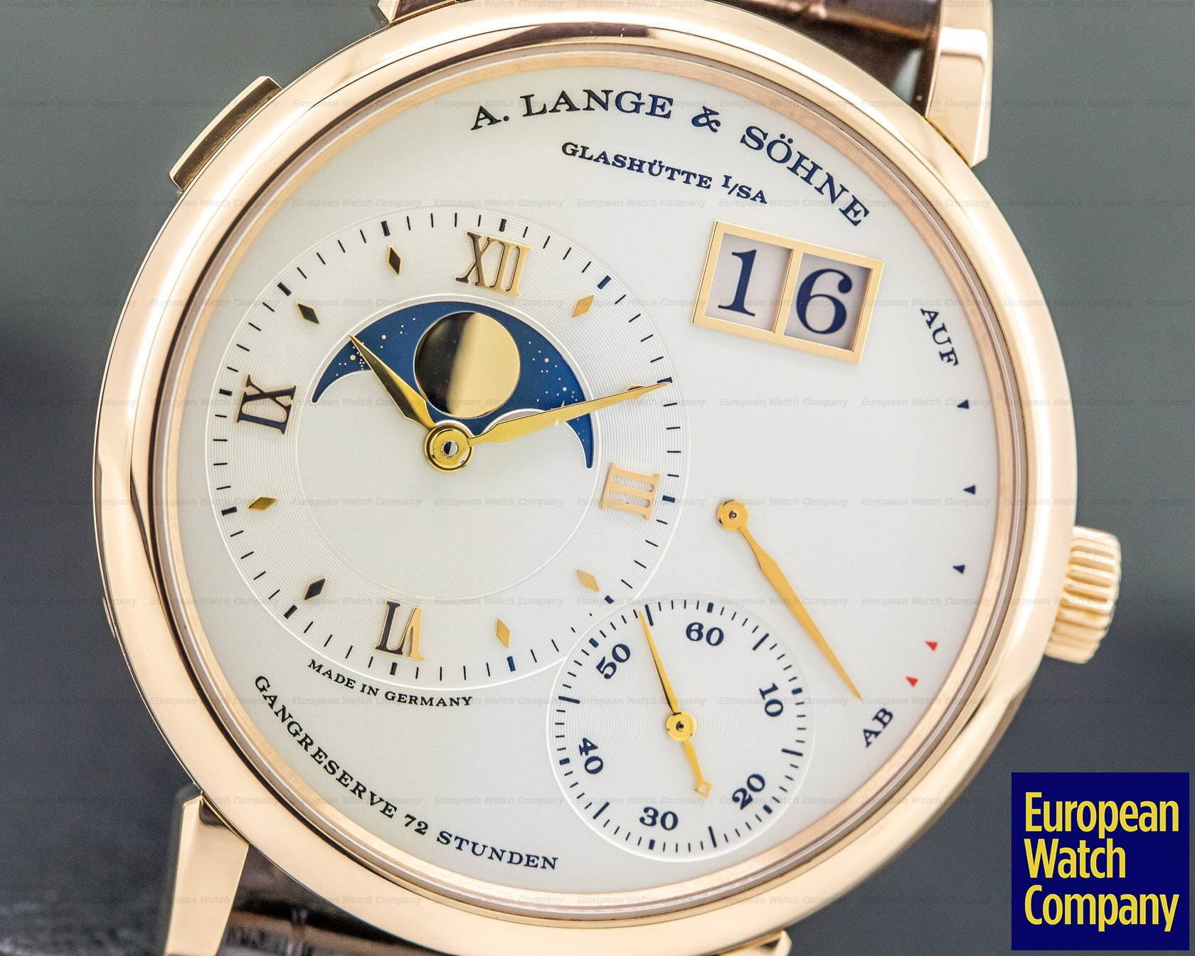 A. Lange and Sohne 139.032 Grande Lange 1 Moon Rose Gold / Deployment Buckle