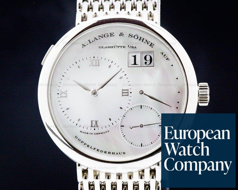 A. Lange and Sohne 160.029 Lange 1 MOP Dial 18k White Gold BRACELET RARE