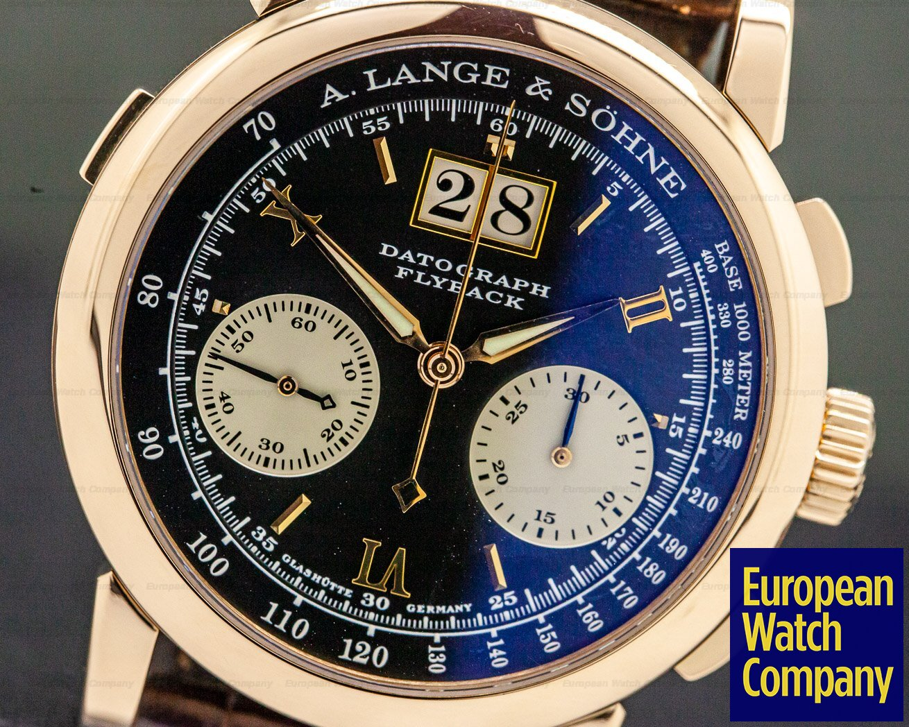 "A. Lange and Sohne 403.031 Datograph 18K Rose Gold Black Dial COMPLETE ""DUFOUR"""