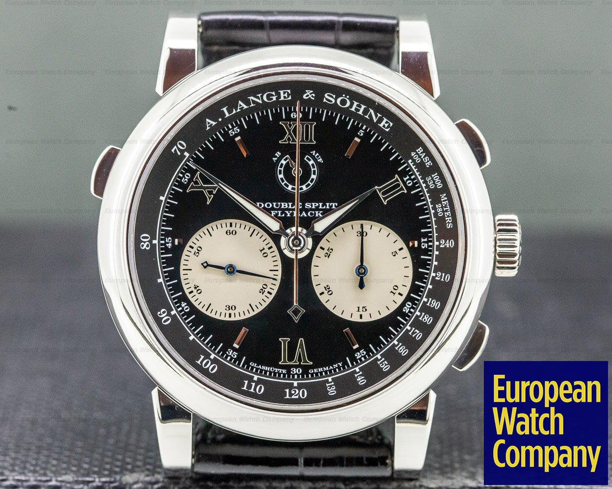 A. Lange and Sohne 404.035 Datograph Double Split Black Dial Platinum / Deployant
