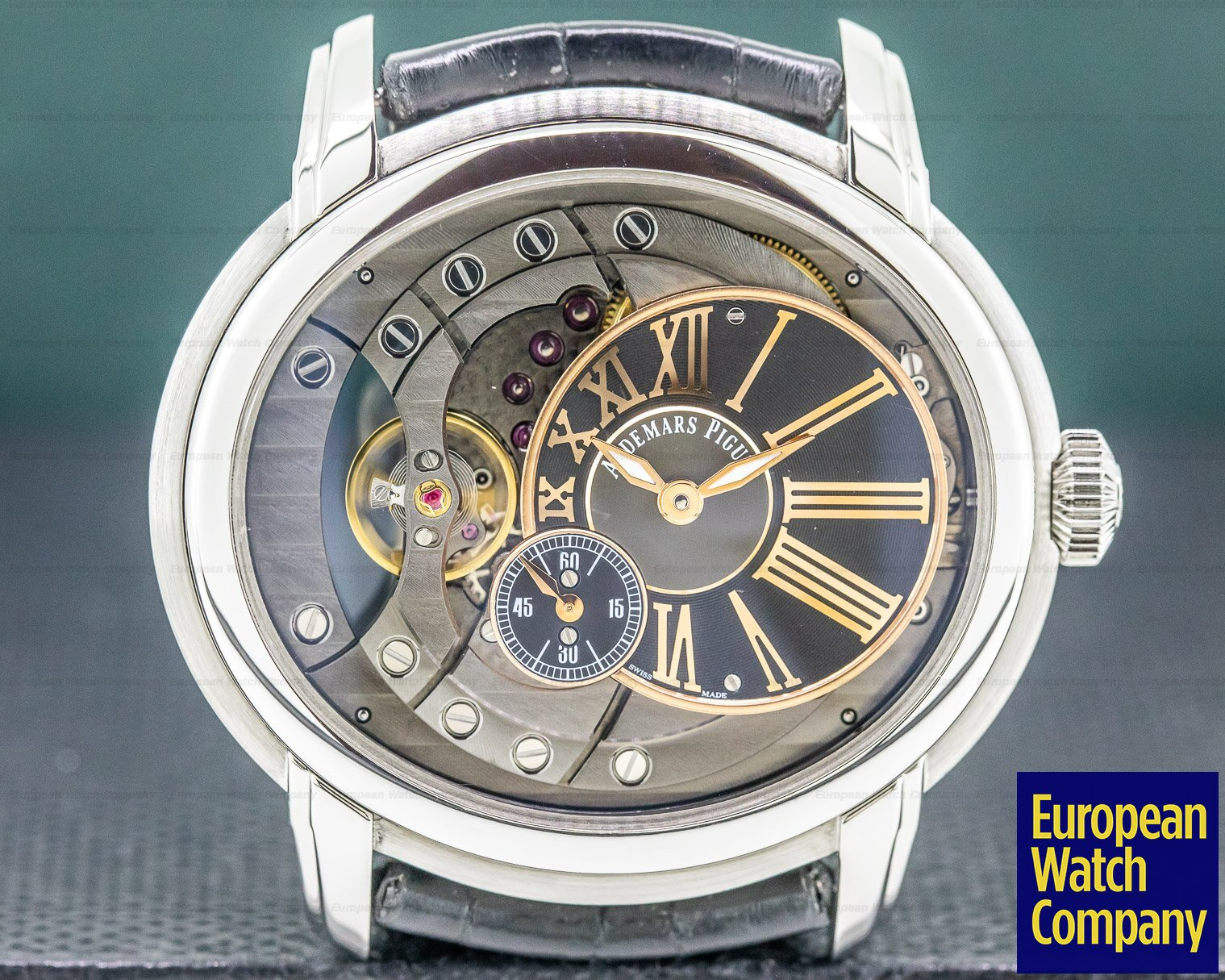 Audemars Piguet 15350ST.OO.D002CR.01 Millenary Automatic Skeleton SS / Leather