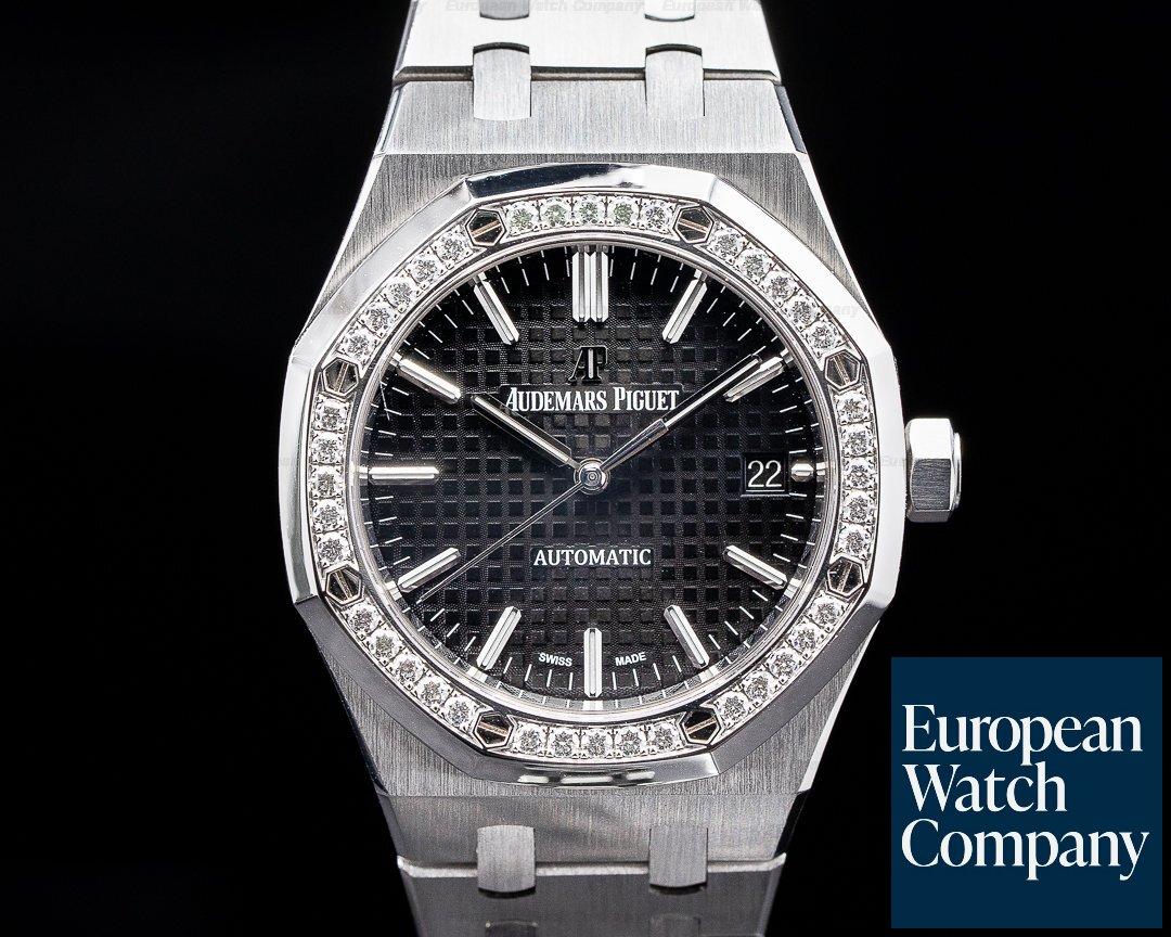 Audemars Piguet 15451ST.ZZ.1256ST.01 Royal Oak Black Dial SS 37MM Diamond Bezel