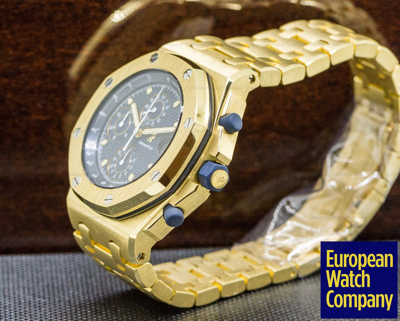 Audemars Piguet 25721BA.00.1000BA.02 Royal Oak Offshore Blue Dial 18K Yellow Gold