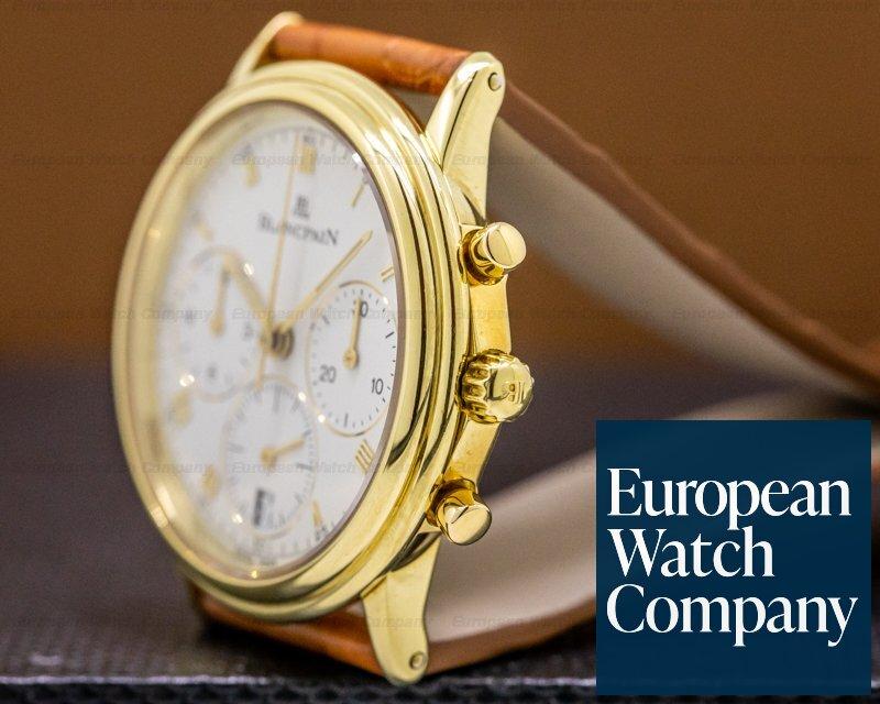 Blancpain 1185-1418-55 Villeret Chronograph 18K Yellow Gold White Dial