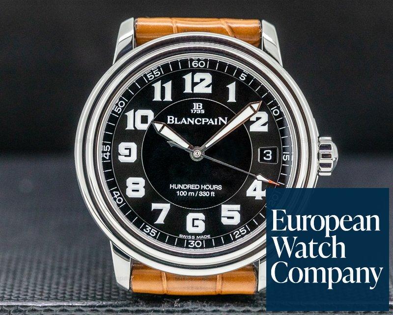 Blancpain 2100-1130M-71 Leman Military Black Dial SS / Strap