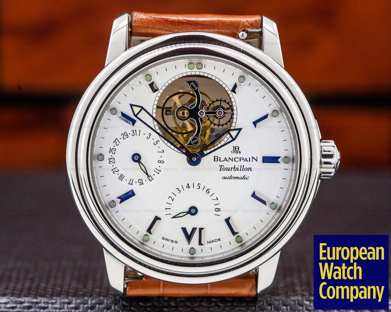 Blancpain 2125-1127-71 Leman Tourbillon 8 Day Power Reserve White Dial SS Automatic