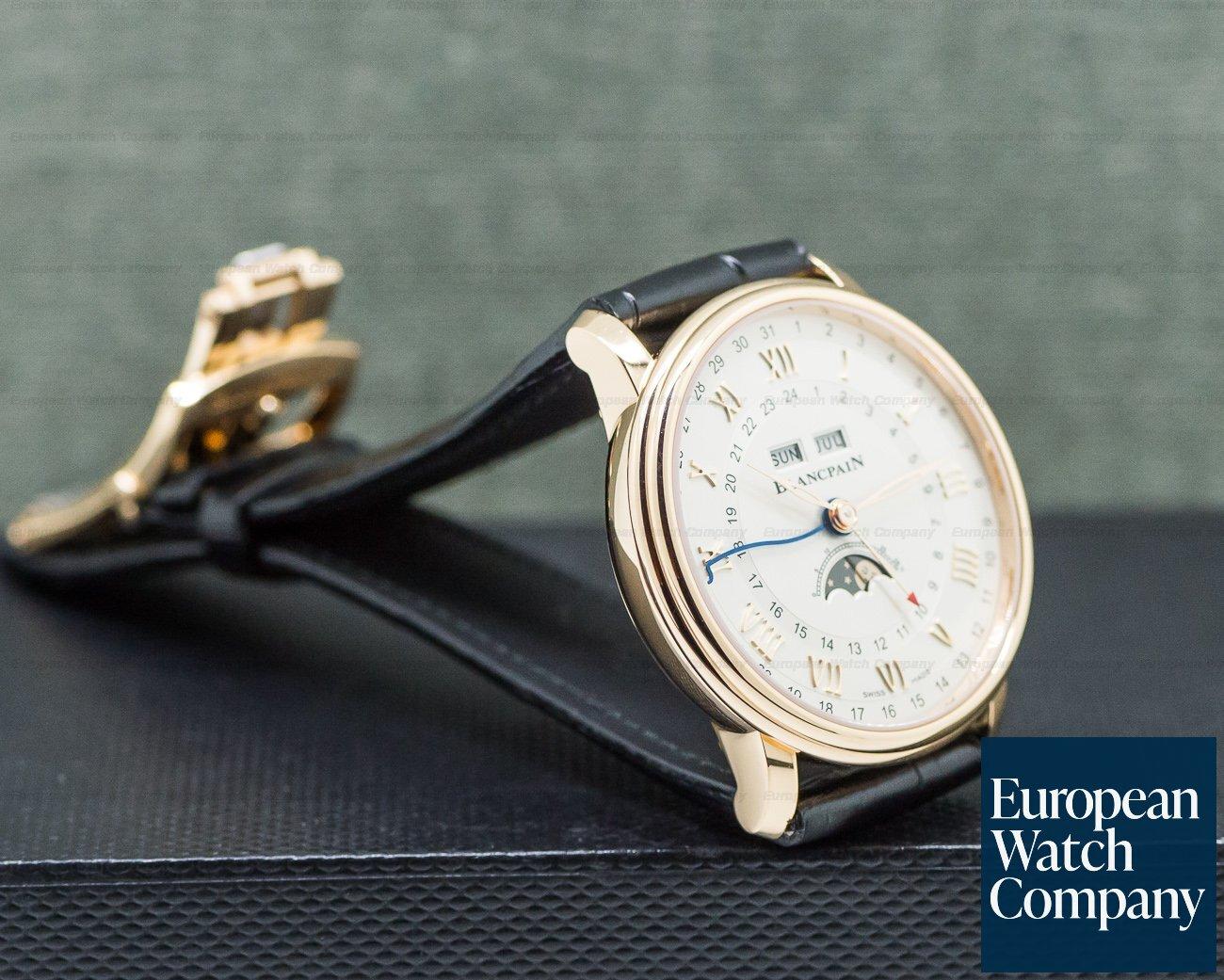 Blancpain 6676-3642-55B Villeret Moonphase Complete Calendar GMT 18K Rose Gold