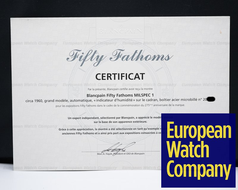 "Blancpain Milspec 1 Demolition Fifty Fathoms Milspec 1 ""Demolition"" EXHIBITION PAPERS 1970s RARE"