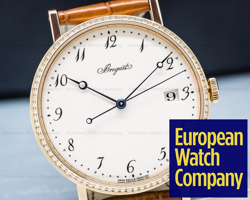 Breguet 5178BR/29/9V6 Classique Automatic Enamel Dial and Diamond Bezel / 18K Rose Gold
