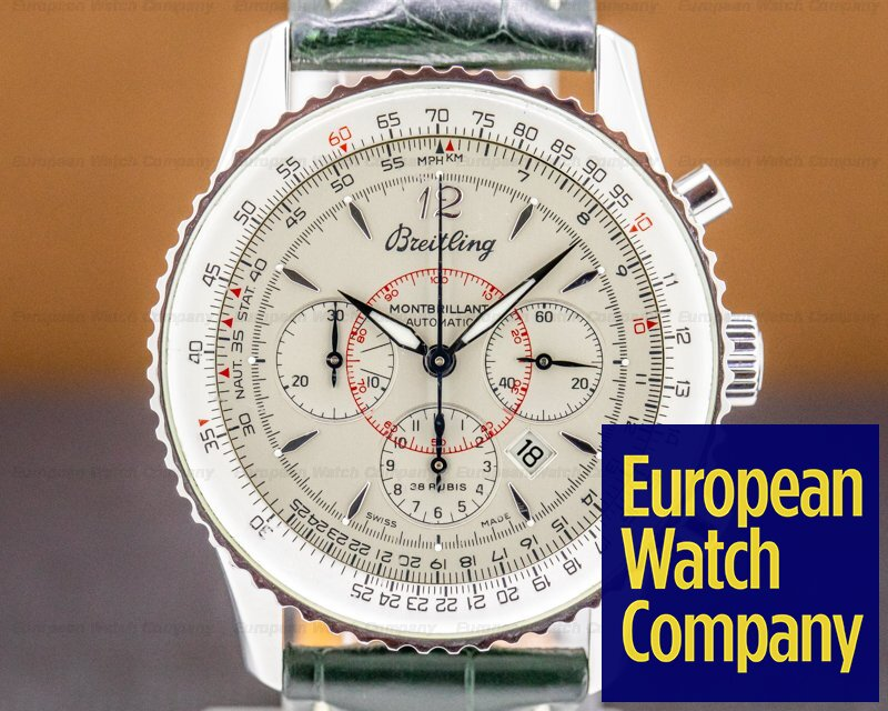 Breitling A4133012/G196 Montbrillant Chronograph SS Silver Dial / Leather