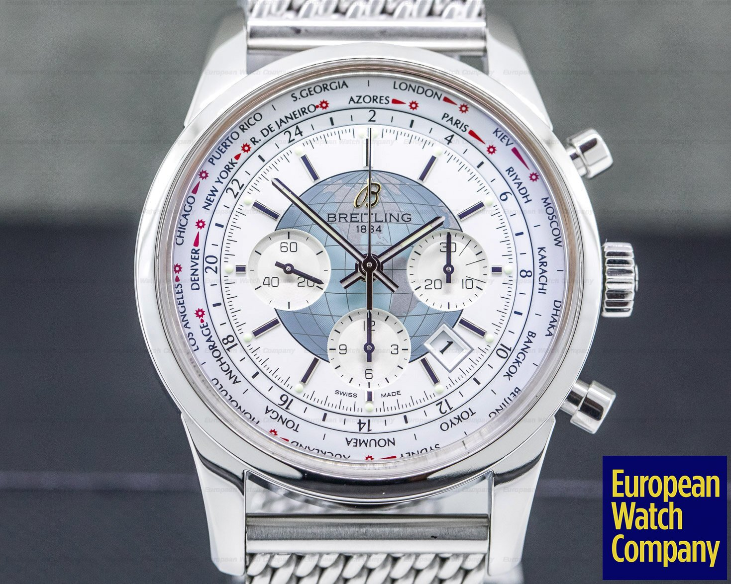 Breitling AB0510u0/A732 Transocean Chronograph Unitime Silver Dial SS / SS