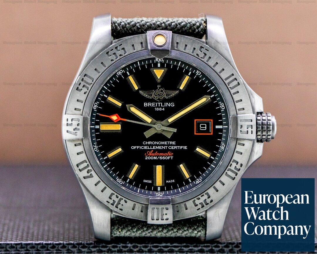 Breitling V1731110/BD74 Avenger Blackbird Black Titanium Carbon Dial / Leather Strap