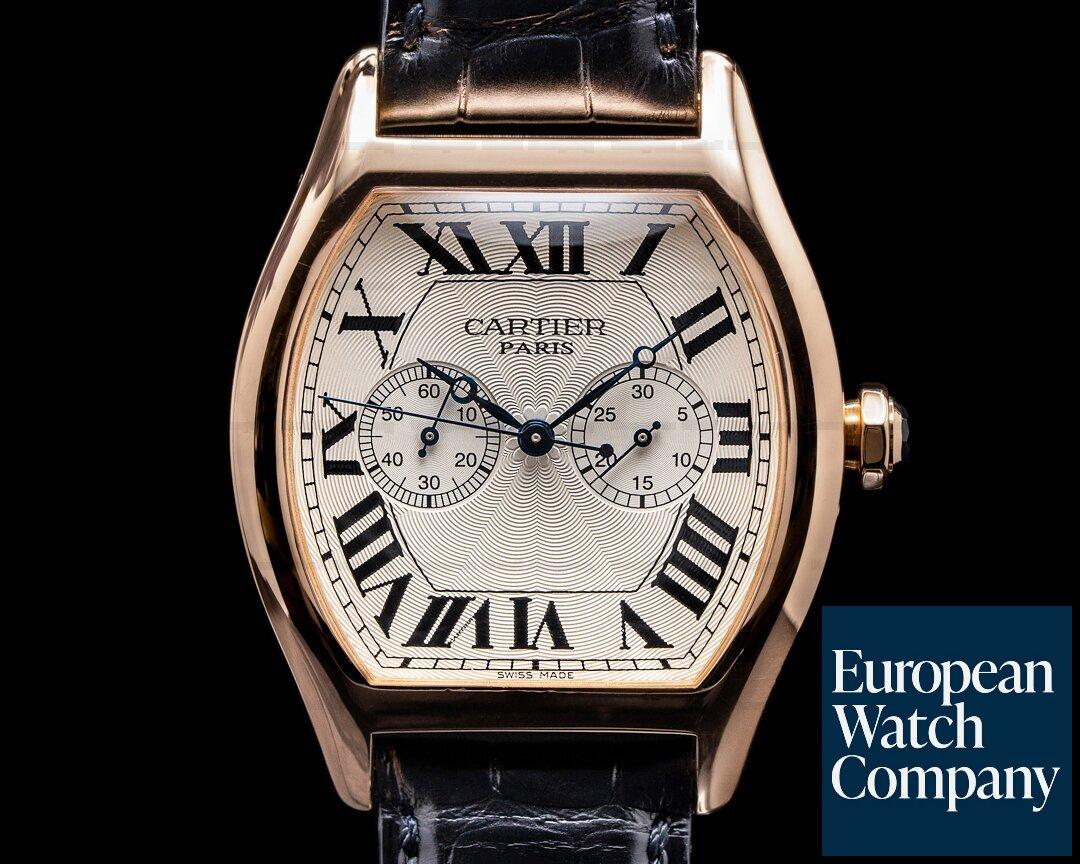 Cartier Privee Collection Tortue XL Monopoussoir Chronograph 18K Rose Gold RARE Ref. W1547451