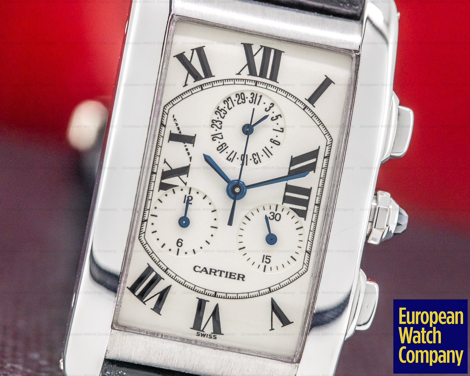 Cartier W26033L1 Tank Americaine Chronograph 18K White Gold / Alligator