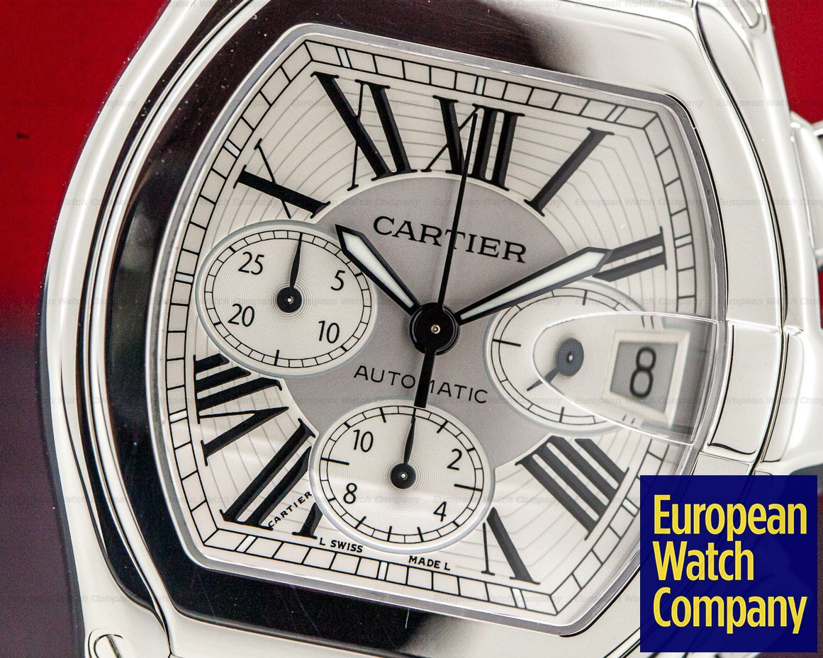 Cartier W62019X6 Roadster Chronograph XL Silver Dial SS / SS