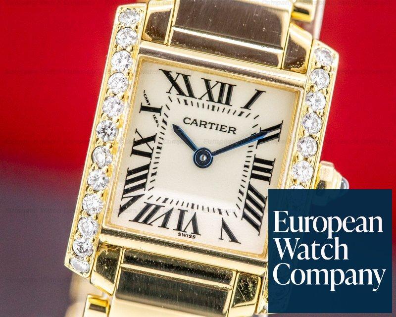Cartier WE1001R8 Ladies Tank Francaise 18K Yellow Gold / Diamond Bezel