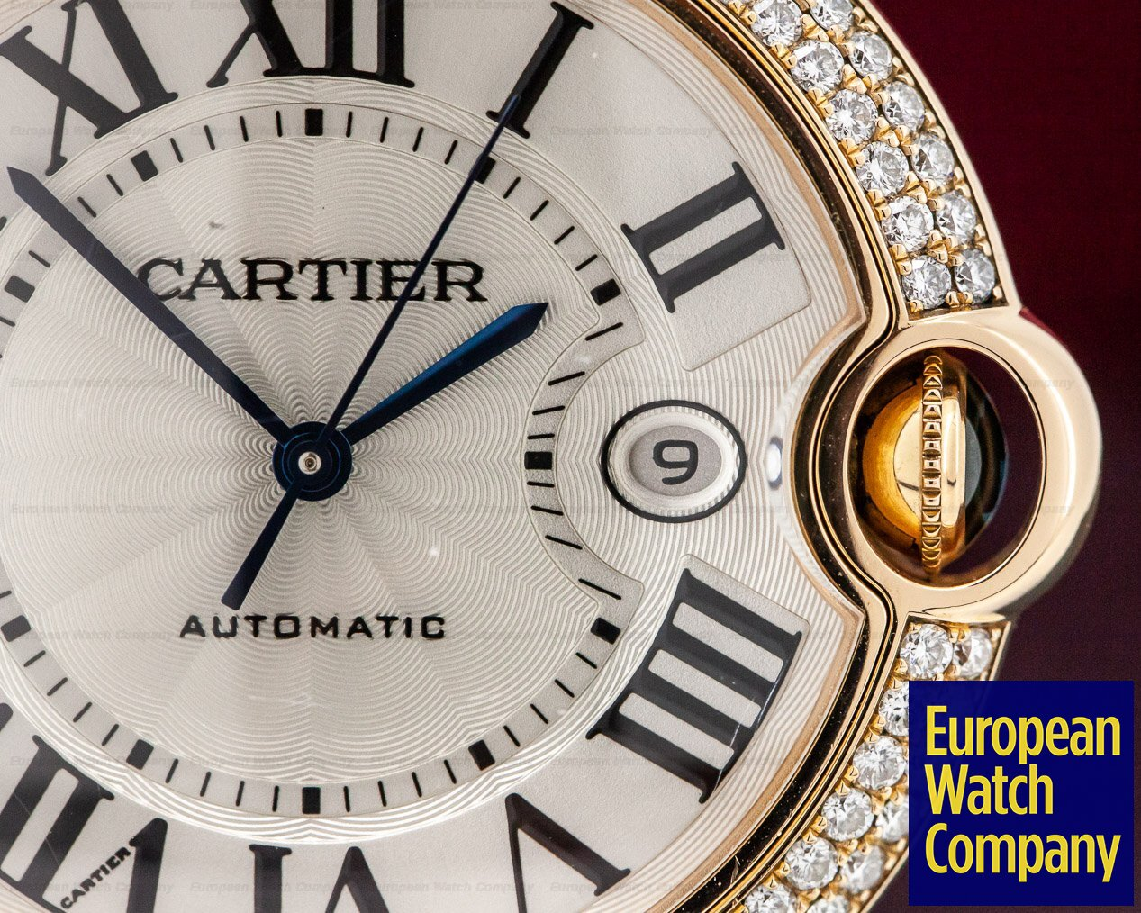 Cartier WE9008Z3 Ballon Bleu Rose Gold Diamond Bezel 44MM