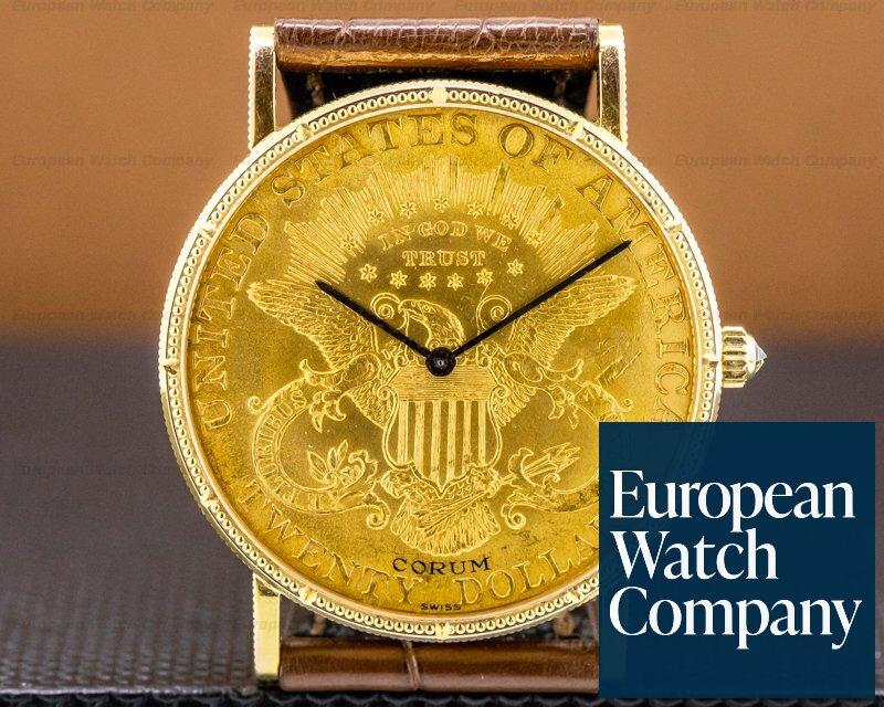 Corum 082.355-56 United States $20 Coin YG Manual Winding 18k Tang Buckle FULL SET