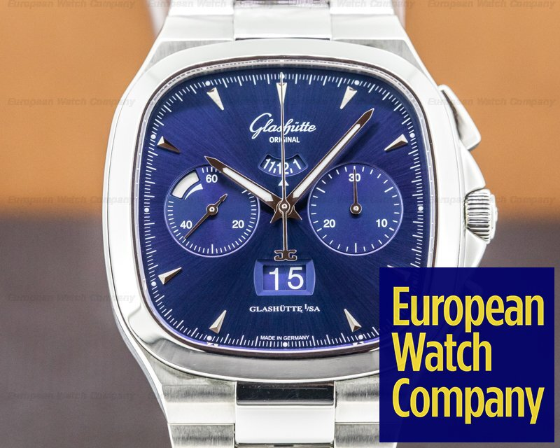 Glashutte Original 1-37-02-03-02-70 Senator Seventies Panorama Chronograph Blue Dial / Bracelet