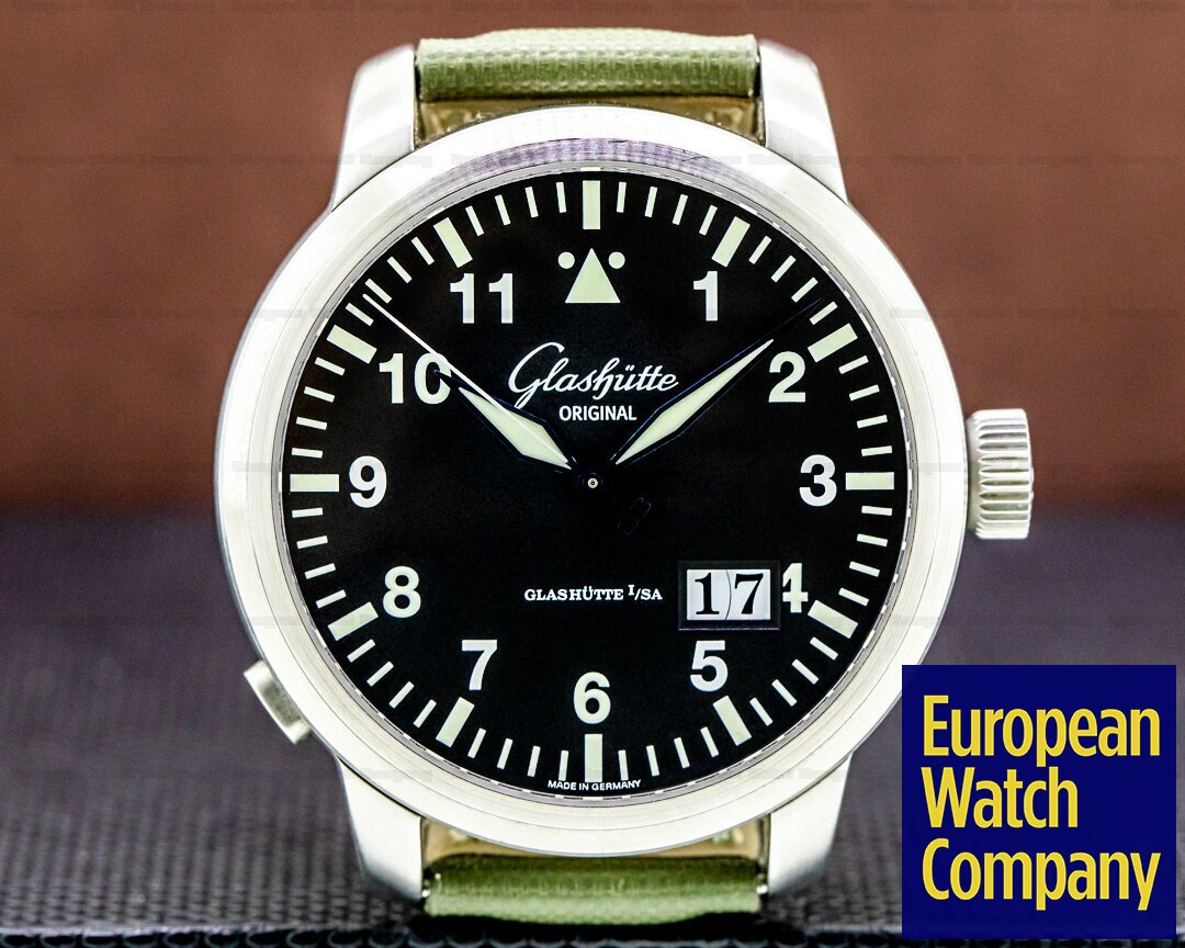 Glashutte Original Senator Navigator Panorama Date SS Black Dial Ref. 100-03-07-05-04