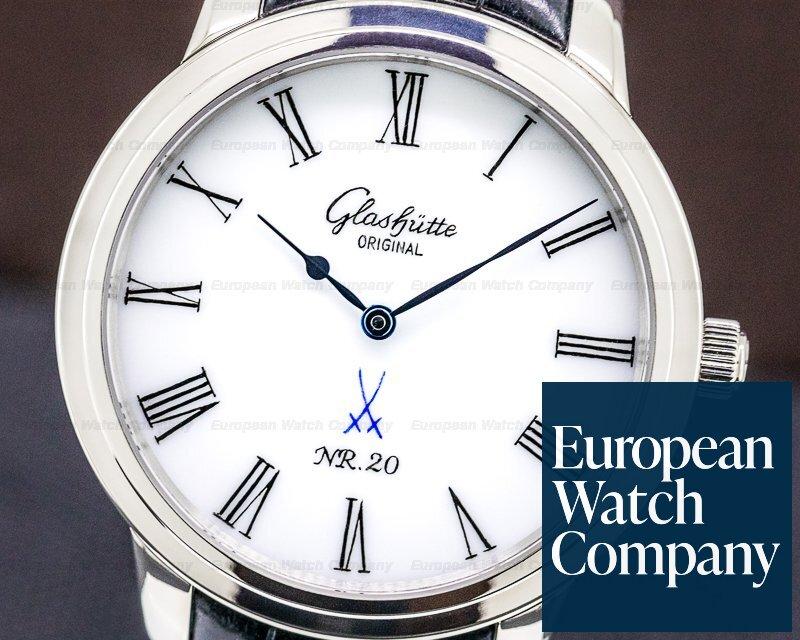 Glashutte Original 100-10-05-04-04 Senator Meissen Porcelain Dial 18K White Gold