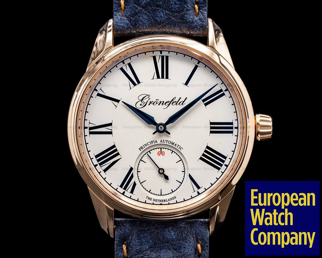 Gronefeld 1941 Principia Automatic 18k Rose Gold / Enamel Dial Ref. 1941 Principia