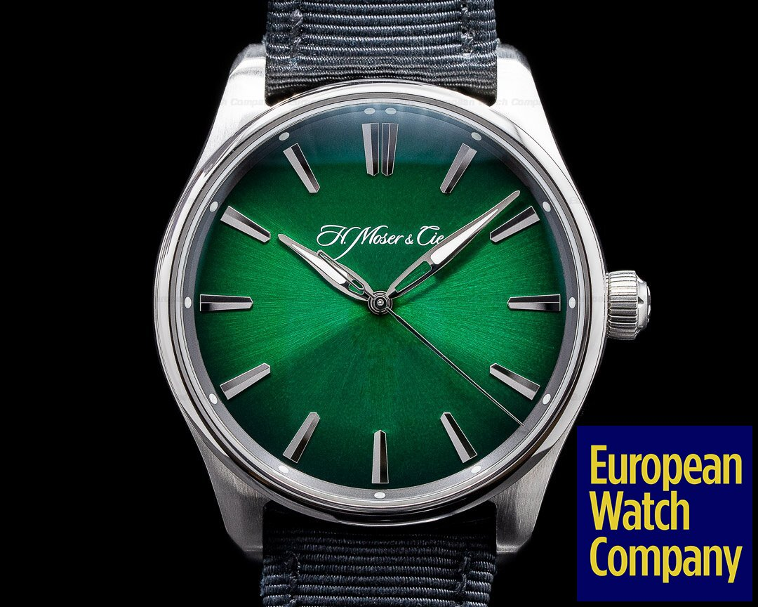 H. Moser & Cie 3200-1200 Pioneer Centre Seconds Cosmic Green Fume Dial WOW