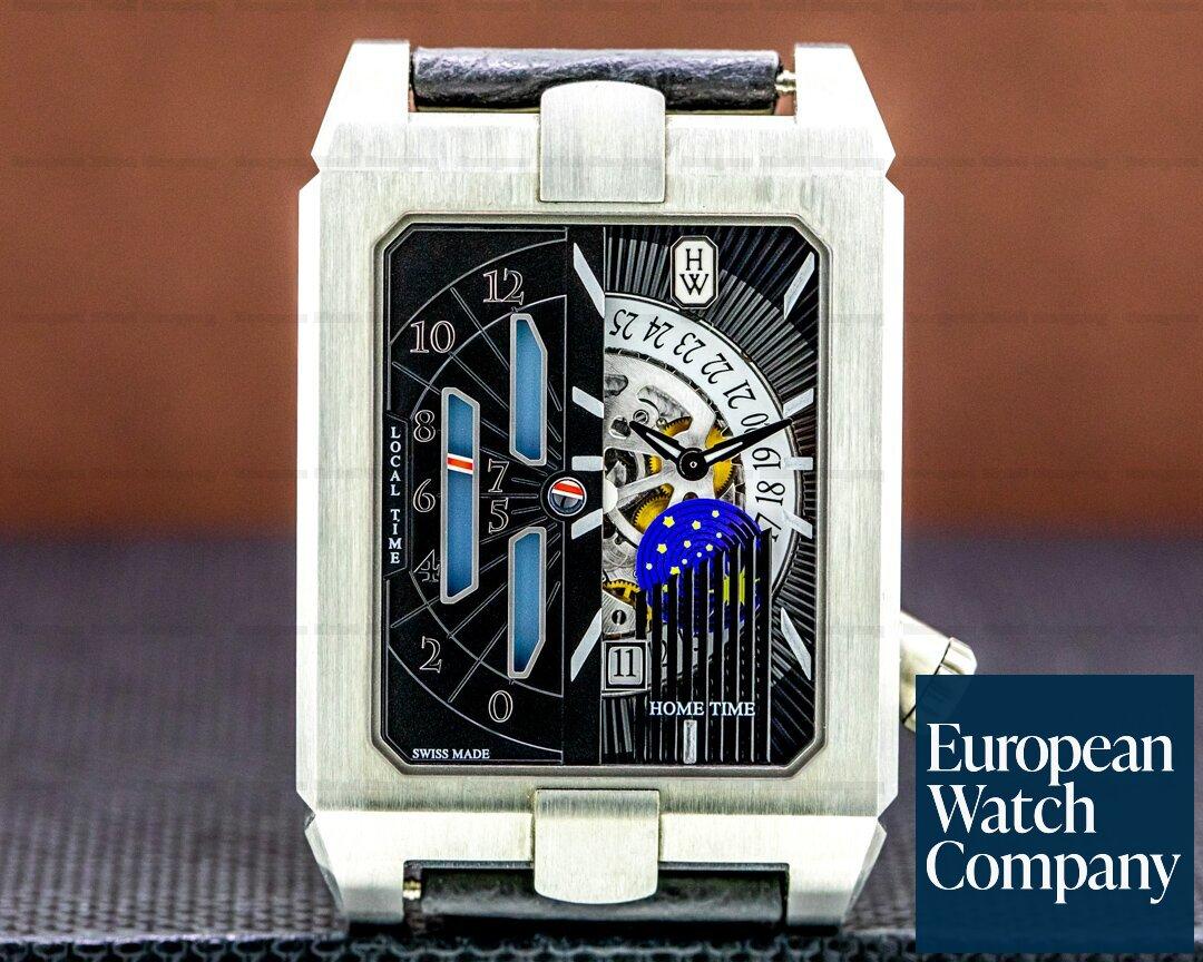 Harry Winston Avenue Dual Time Automatic Zalium Case Deployant Ref. AVEATZ37ZZ001