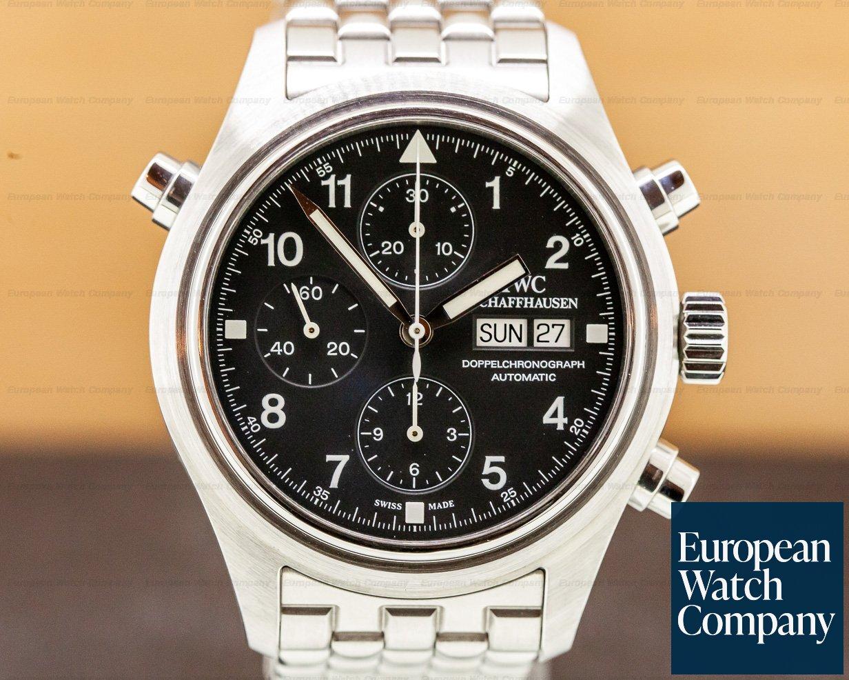 IWC IW3713 Pilot Spitfire Split Second Doppelchronograph Black Dial SS