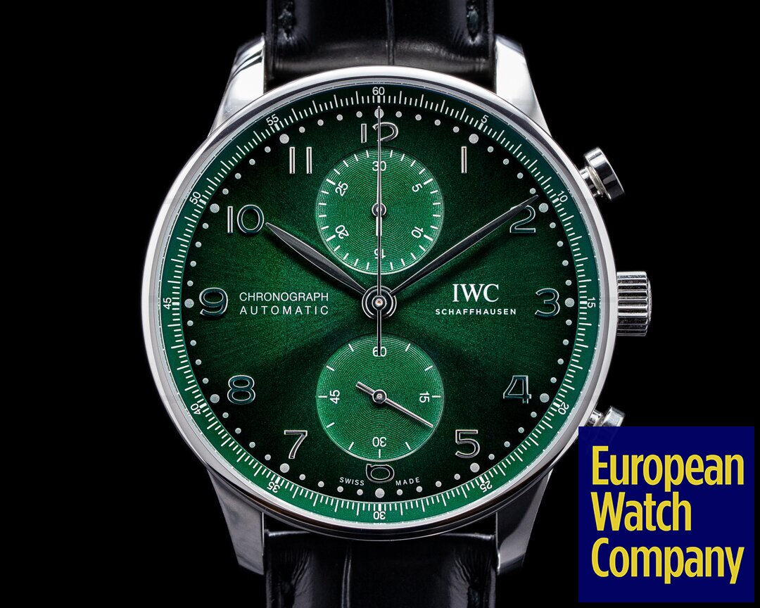 IWC Portuguese Chronograph SS Green Dial NEW MODEL UNWORN Ref. IW371615