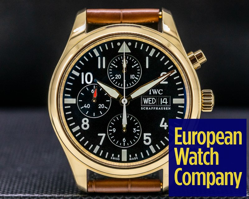 IWC IW371713 Pilot Chronograph Black Dial Rose Gold