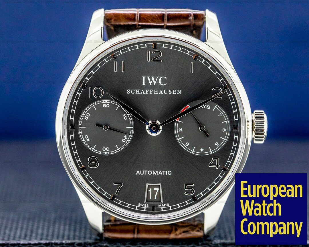 IWC Portuguese 7 Day Automatic 18K White Gold / Grey Dial FACTORY SERVICED Ref. IW500106