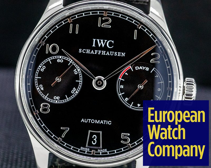 IWC IW500109 Portuguese 7 Day Automatic SS Black Dial Silver Numerals