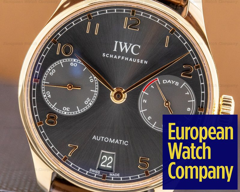 IWC IW500702 Portuguese 7 Day Automatic 18k Rose Gold Slate Dial Rose Numerals