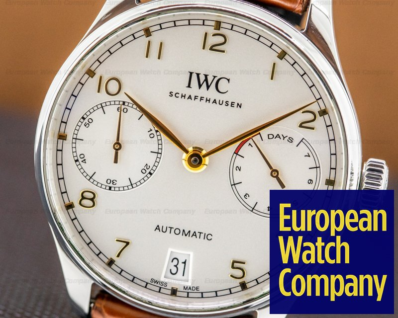 IWC IW500704 Portuguese 7 Day Automatic SS Silver Dial Rose Numerals