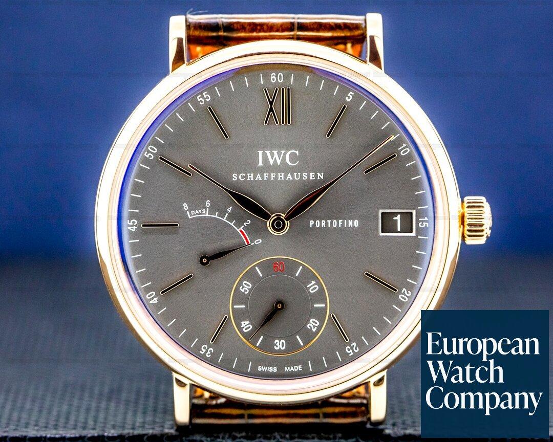 IWC Portofino Hand Wound Eight Days 18K RG Grey Dial Ref. IW510104