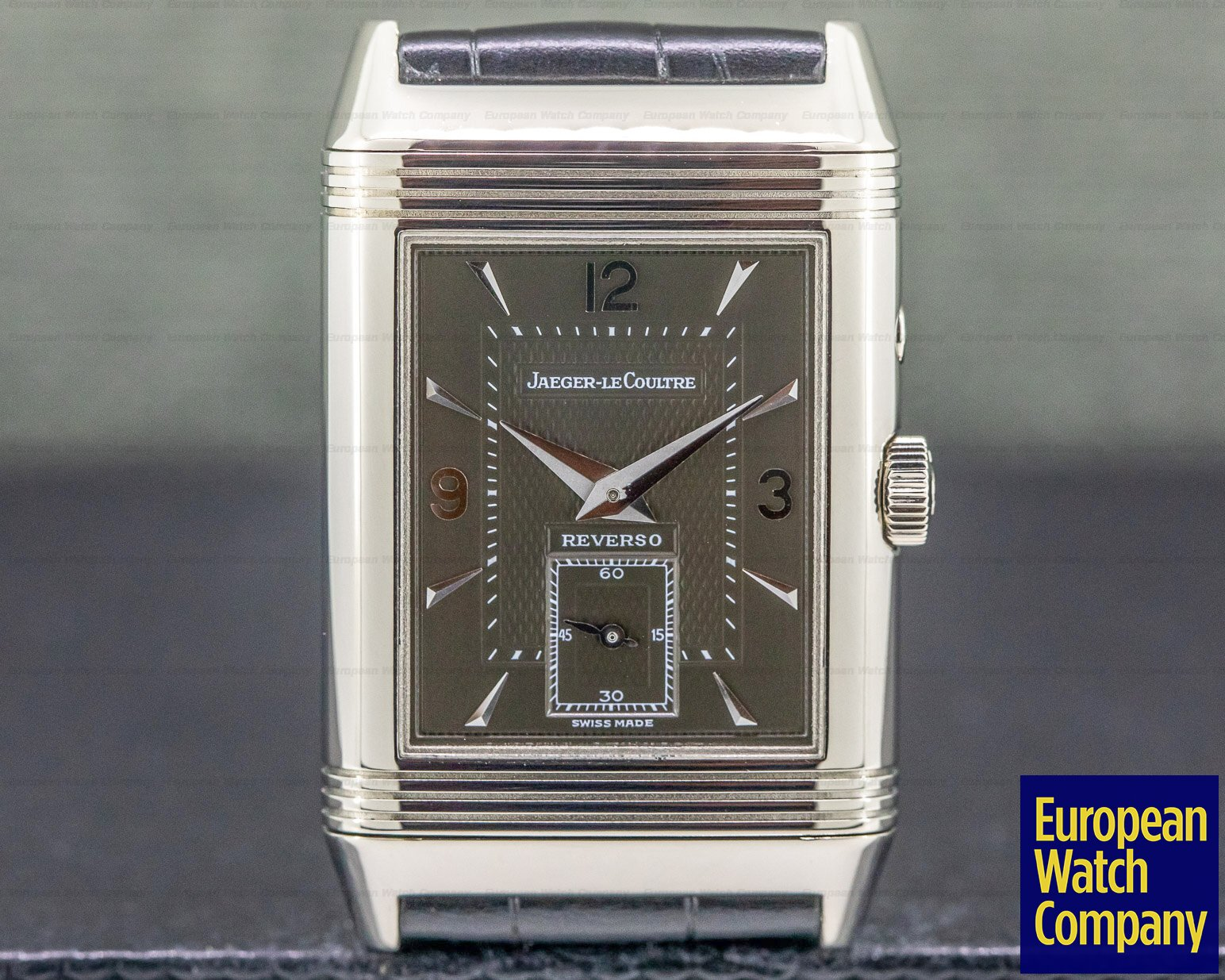 Jaeger LeCoultre 270354 Reverso Duo White Gold / Black & Salmon Dial FULL SET