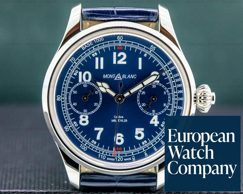 Montblanc 1858 Monopusher Chronograph Tachymeter Blue Dial Ref. 114086