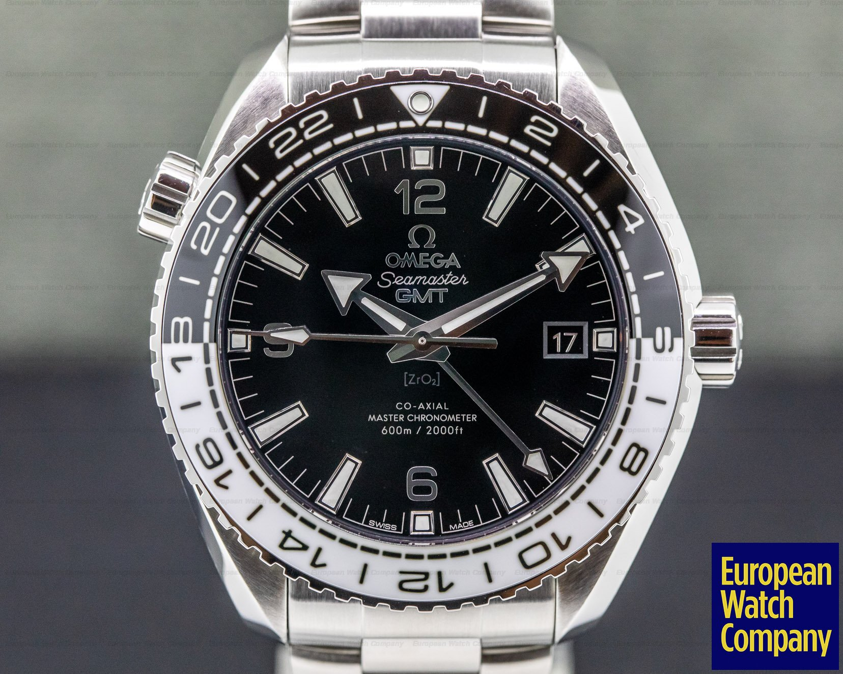 Omega 215.30.44.22.01.001 Seamaster Planet Ocean GMT 600M Co-Axial Black Dial SS/Bracelet