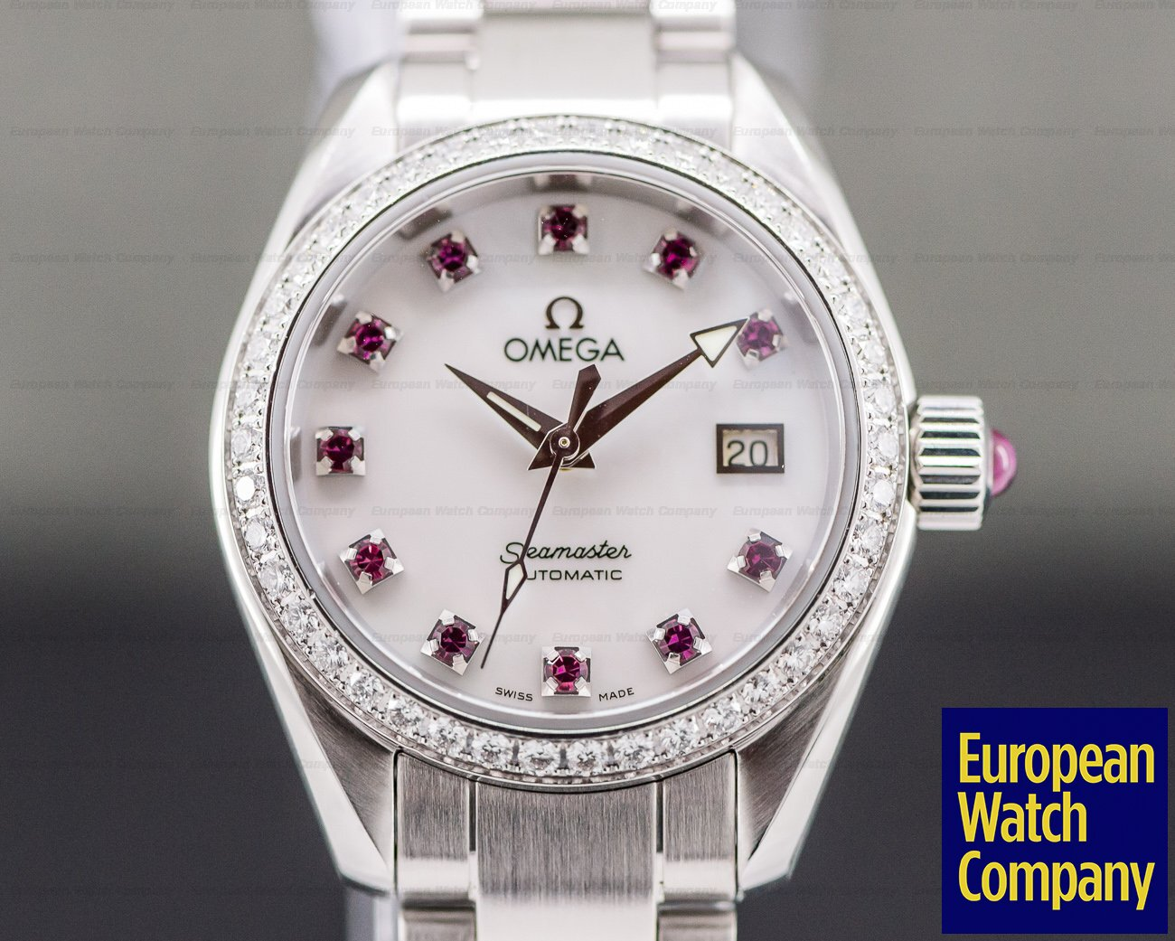 Omega 2565.78.00 Ladies Aqua Terra Automatic Mother of Pearl and Ruby Dial