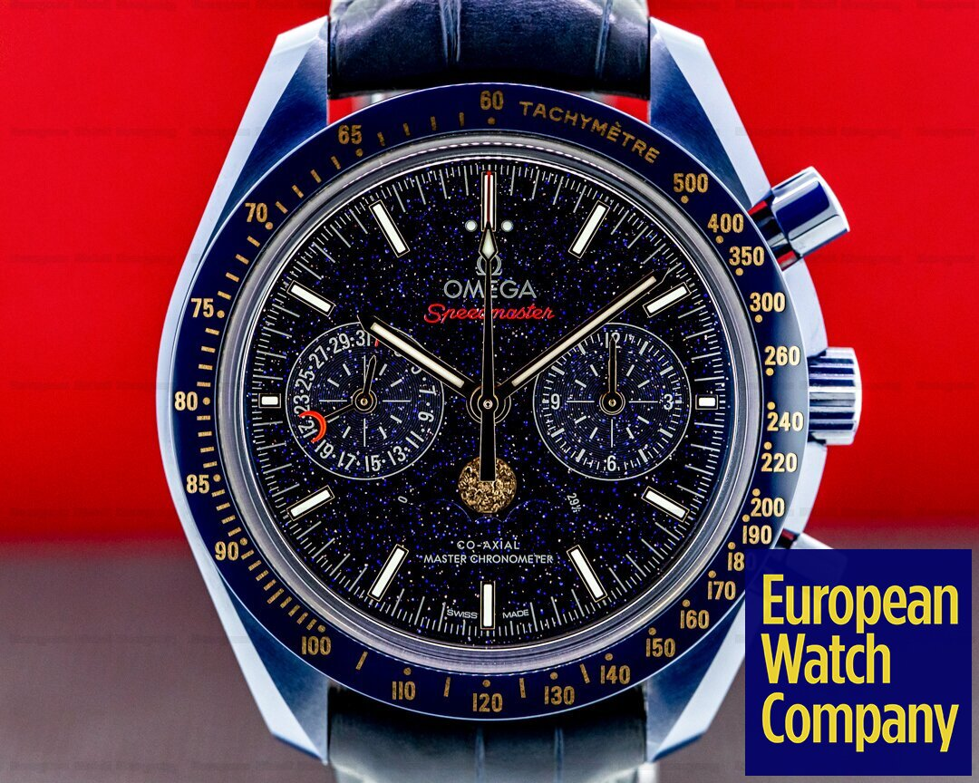 Omega Speedmaster Co-Axial Master chronometer Moonphase Chronograph Blue Side Ref. 304.93.44.52.03.002
