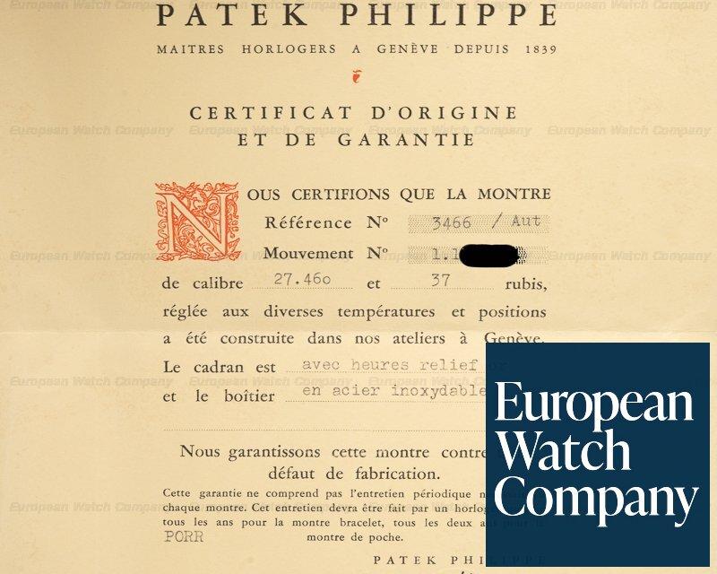 Patek Philippe 3466 3466 Steel Calatrava GUBELIN ORIGINAL CERTIFICATE AND RECEIPT