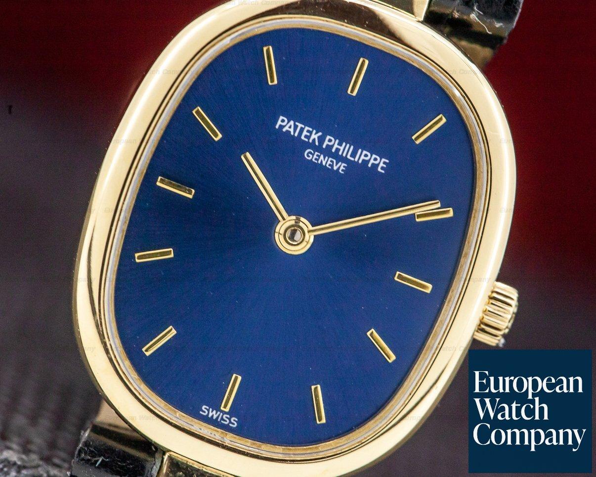 Patek Philippe 4764J Ladies Golden Ellipse Blue Dial 18k Yellow Gold