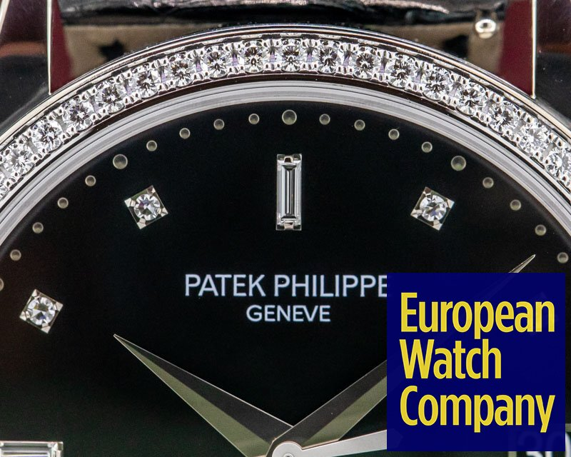 Patek Philippe 5297G-001 Calatrava 18K White Gold Black Dial / Diamond Bezel