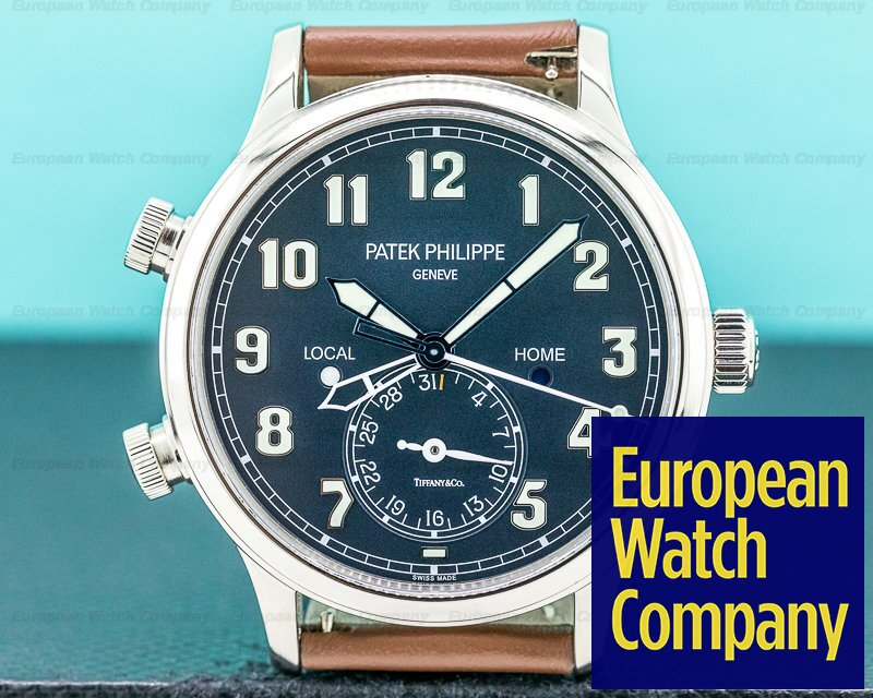 "Patek Philippe 5524G-001 Calatrava 5524G Pilot Travel Time 18k White Gold ""TIFFANY & CO"""