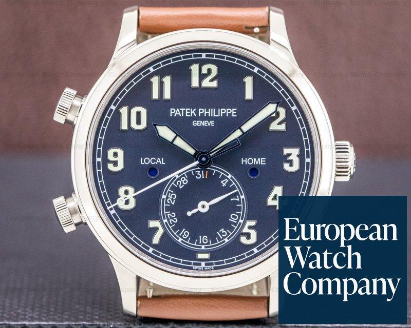 Patek Philippe 5524G-001 Calatrava 5524G Pilot Travel Time 18k White Gold UNWORN