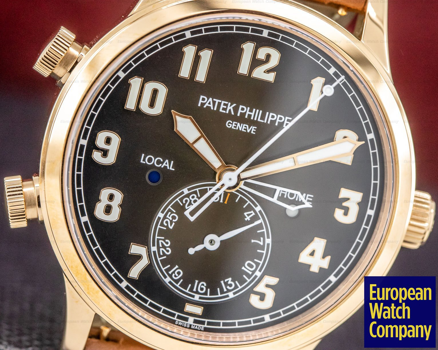 Patek Philippe 5524R-001 Calatrava Pilot Travel Time 18k Rose Gold UNWORN