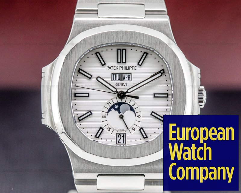 Patek Philippe 5726/1A-010 Nautilus Annual Calendar Moon White Dial SS FULL SET