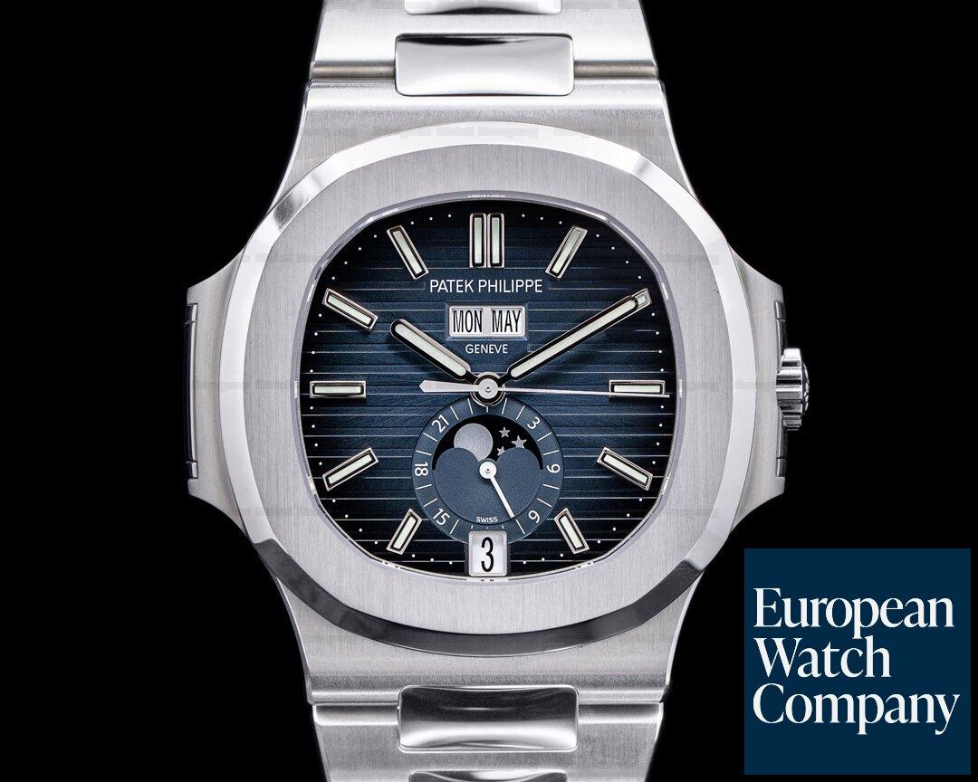 Patek Philippe 5726/1A-014 Nautilus Annual Calendar 5726 Moon Blue Dial SS FULL SET